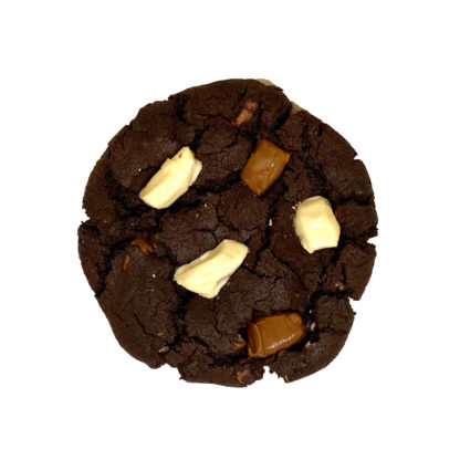 triple chocolate cookie white background